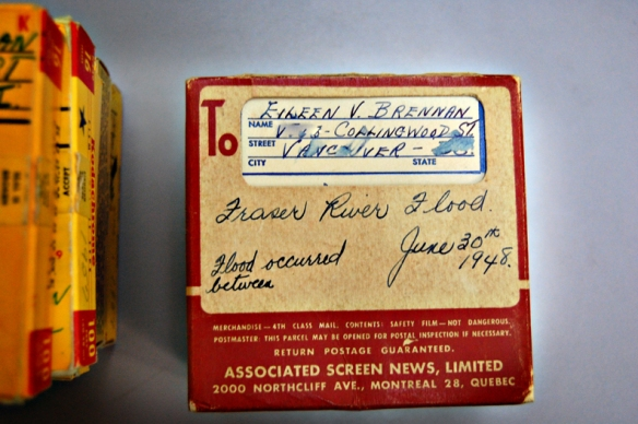 Film from Eileen 'Bunty' Brennan collection, shows film content and mailing address. Photo: C.Hagemoen