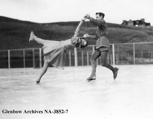 Norton Wait and Bunty Noble, skaters performing at the Glencoe club, Calgary, Alberta. (ca. 1930s). Photo: NA-3852-7, Glenbow Museum.