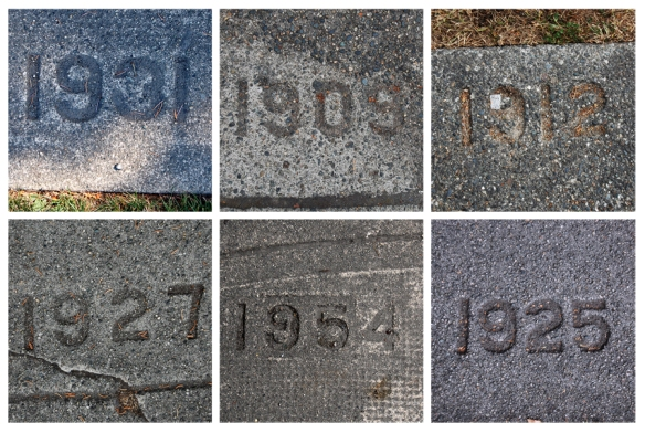 Composite of date stamped sidewalks in Vancouver. Photo: C. Hagemoen