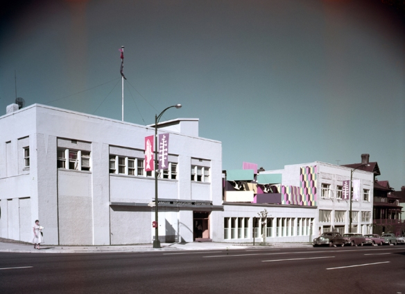 Exterior of the CBUT studio building at 1200 West Georgia, a converted Packard dealership. July, 1958. Photo: Alvin Armstrong, CBC Vancouver Still Photo Collection.