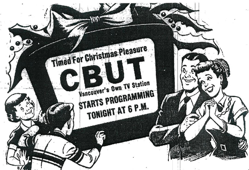 Newspaper print ad for the CBUT opening.