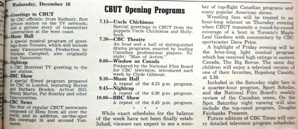 CBUT opening day program schedule, Dec. 16, 1953.
