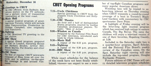 CBUT opening day program schedule, Dec. 16, 1953.