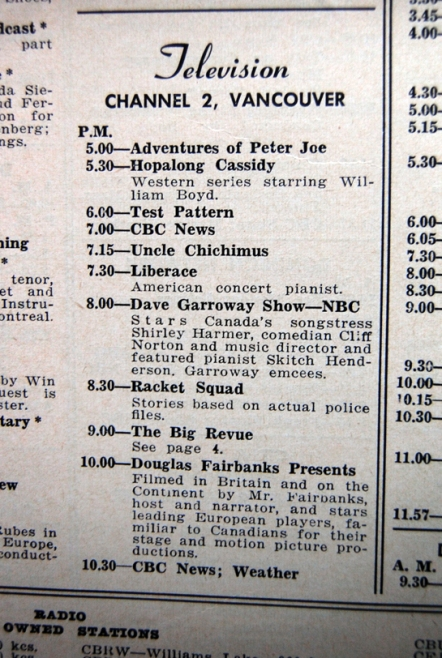 Typical early CBUT TV programming schedule (ca. early 1954). Note the broadcast of TV test pattern.