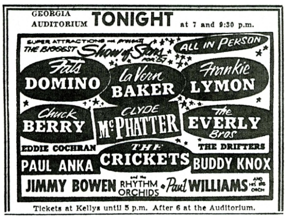 Newspaper ad for concert at Georgia Auditorium.