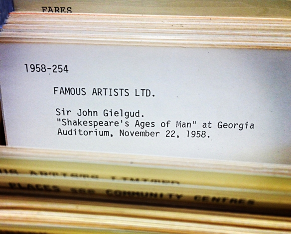 Vancouver Archives pamphlet collection card catalogue listing featuring Sir John Guilgud performance at the Georgia Auditorium (1959). Photo: C.Hagemoen