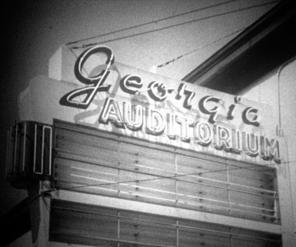 Neon sign from the Georgia Auditorium. Still taken from moving image CBUT news footage (1959).