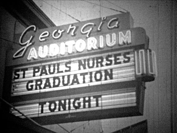 Georgia Auditorium sign advertises the St. Paul's Nurses Graduation ceremonies. Still taken from CBUT news footage (1959). Photo: C. Hagemoen