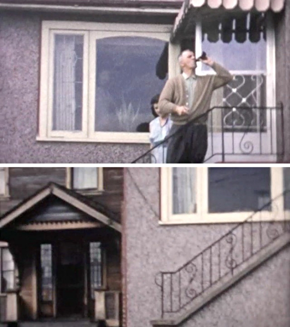 Stills from home movies of my great aunt's house in east Vancouver ca. 1957 & 1964. The exterior was multi-coloured bottle dash stucco applied when the house was newly constructed in 1946. My great uncle drinks a beer, possibly providing material for future bottle-dash applications.