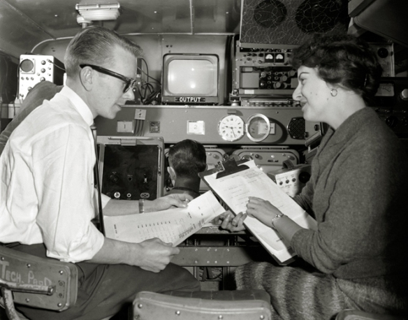 """March 21, 1961. """"Jazz # 3"""" - CBC mobile unit on location. Inside mobile truck. If anyone can identify these CBUT employees please let me know. Photo: Franz Lindner, CBC Vancouver Still Photo Collection"""