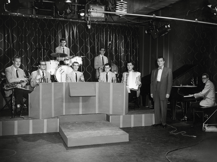 """On the set of """"Harmony House"""" in 1954. Photo: Alvin Armstrong, CBC Vancouver Still Photo Collection."""