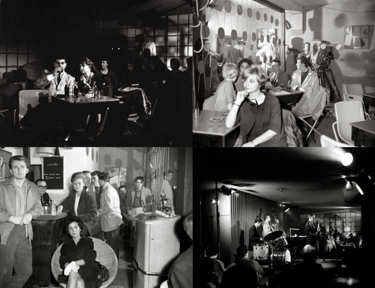 Composite of images inside the Cellar Jazz club from March 21, 1961. CBUT was on location to film Jazz #3 and still photographer, Franz Lindner captured the event. Photos: Franz Lindner, CBC Vancouver Still Photo Collection.