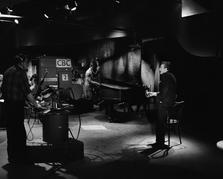On the set of the 1955 Eleanor Show. Photo: Alvin Armstrong, CBC Vancouver Still Photograph Collection.