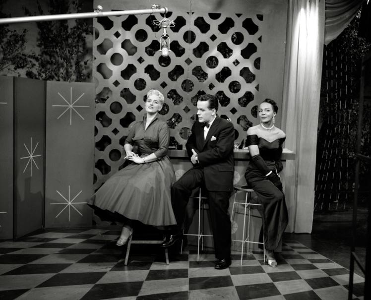 "August 7 1955. ""Eleanor"" (l-r) Juliette Cavazzi, Alan Millar, Eleanor Collins. Photo: Alvin Armstrong, CBC Vancouver Still Photo Collection."