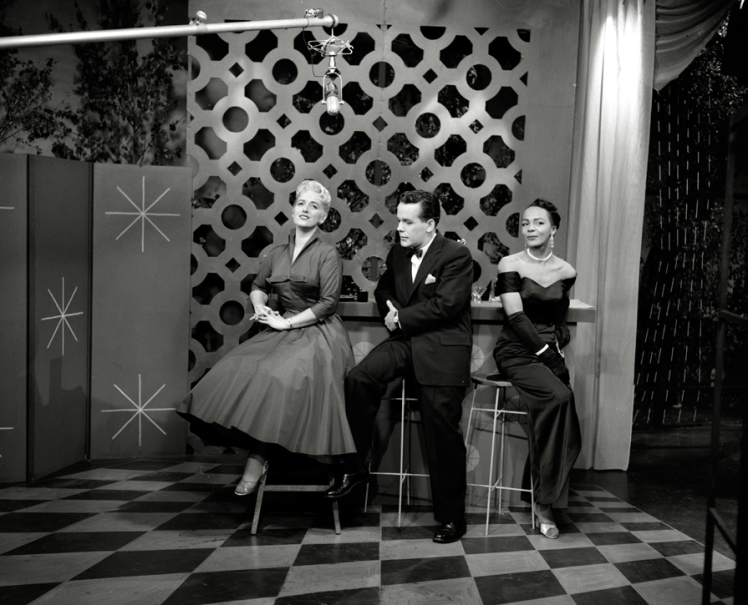 "August 7 1955. ""Eleanor"" (l-r) Juliette Cavazzi, Alan Millar, Eleanor Collins. Photo: Alvin Armstrong, CBC Vancouver Still Photo Collection."