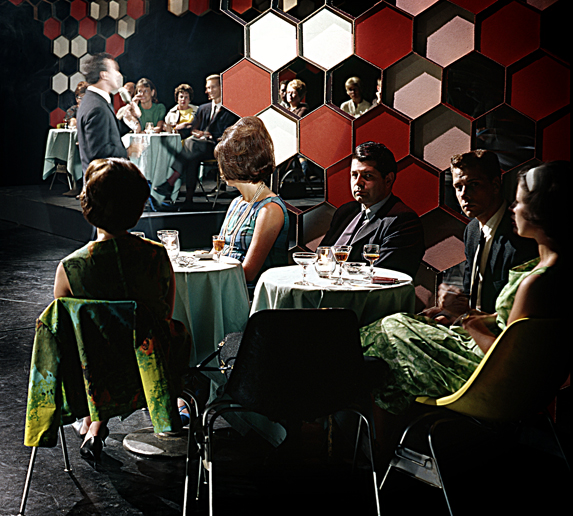 """1963 Nightclub set for CBUT's """"Showcase"""". Photo: Alvin Armstrong, CBC Vancouver Still Photo Collection"""