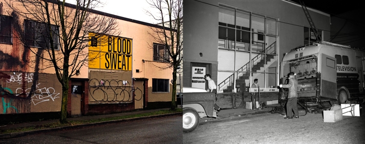 Two images of the exterior of the former Cellar Jazz club. Left- January 2014 a couple of months before the building was torn down To make way for more condos! Photo: C. Hagemoen. Right- March 21, 1961, CBUT on location at the Cellar, Photo: Franz Lindner, CBC Vancouver Still Photo Collection.