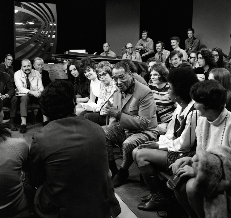 """April, 1970. Production still from """"In the Round"""" with special guest, Duke Ellington. Photo: Franz Lindner, CBC Vancouver Still Photo Collection"""