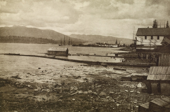 "1885 view of Burrard Inlet and Hastings Mill from Granville, now Vancouver, BC. From ""Wanderings with a Camera"" by Erskine Beveridge Photo: Erskine Beveridge, RCAHMS, DP050375 ."