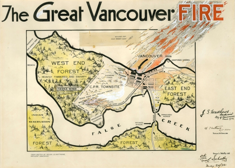 """The Great Vancouver Fire"" from 1932 sketch by J.S. Matthews, Archivist Vancouver. (Print by Art Engraving Co.). City of Vancouver Archives, AM1562-: 75-54"