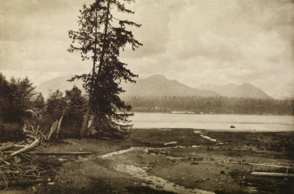 View of Burrard Inlet and Moodyville from Granville, now Vancouver.Copy of photograph titled 'Burrard Inlet, Moodyville, from Granville (now Vancouver)' . Photo: