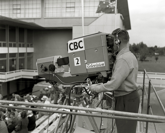 CBC television camera at Empire Pool, August 2, 1954. Photo: Alvin Armstrong, CBC Vancouver Still Photo Collection