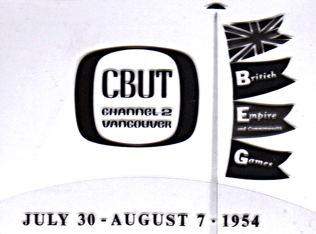 Rear Screen slide of CBUT graphic created for the television broadcast of the 1954 BE&C Games.