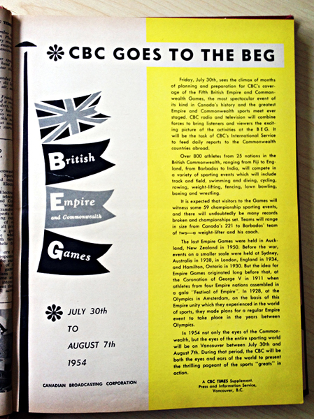 """CBC Times"" Special Supplement for the 1954 BE&C Games in Vancouver."