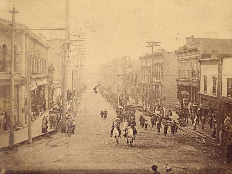 View of Cordova Street looking east from Cambie Street. July 12, 1893. Photo: Bailey Bros. CoV Archives, AM54-S4-: Str P301.