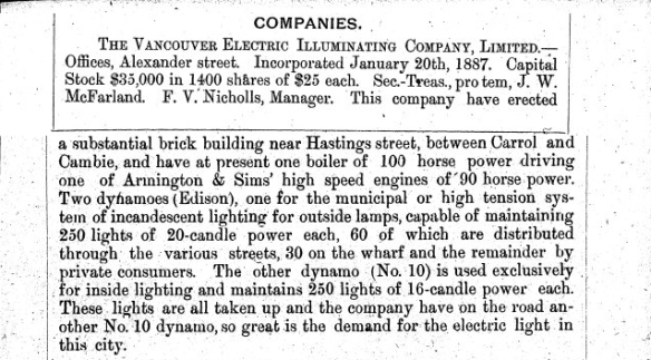 Page 10/11 of the 1887 Williams' City Directory tells the story of the Vancouver Electric Illuminating Co.