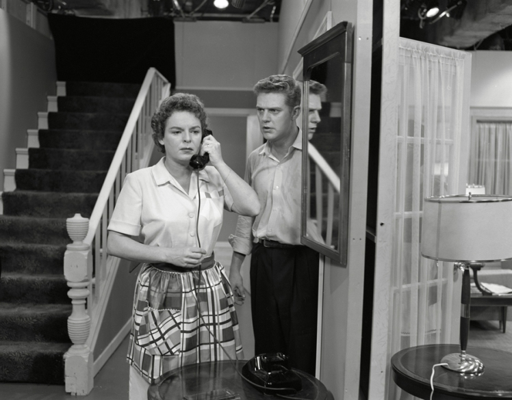 Mercedes McCambridge and John McDonald in a scene from 'Some Days You Have To Hit Somebody'. Photo: Alvin Armstrong, CBC Still Photo Collection.