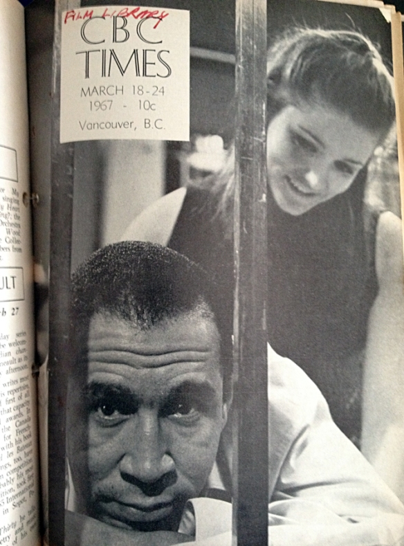 'Moose Fever' cover of CBC Times featuring Don Crawford and Margot Kidder. Photo: Franz Lindner, CBC Vancouver Still Photo Collection.