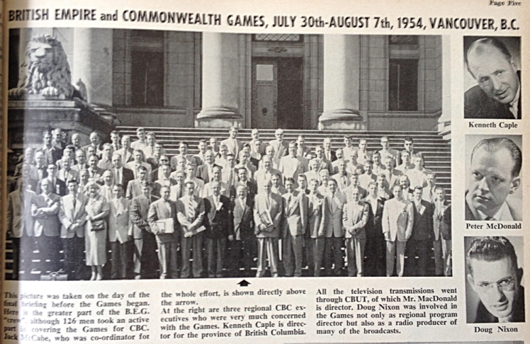 "The greater part of the CBC BE&CG crew. Includes inserts of the local CBUT executives involved. Photo from the ""CBC Times"" special supplement for teh 1954 Games."