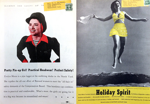 Two images of women (1943 & 1945) on the back cover of Wallace Shipbuilder.