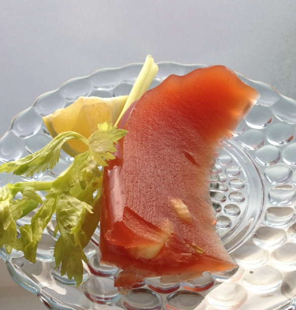 A slice of Bloody Ceasar Aspic. Photo: C.Hagemoen