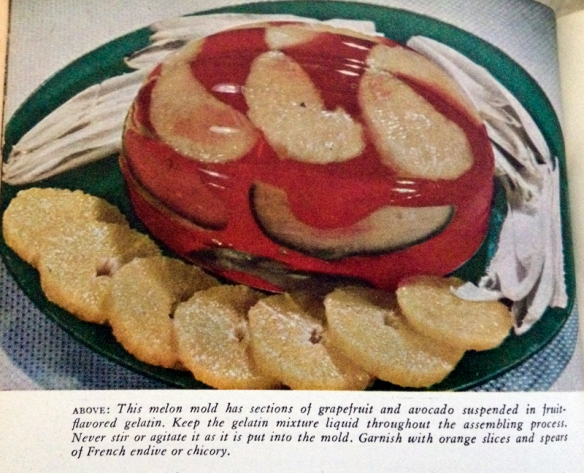 Photo of a melon molded salad from Meta Given's Modern Encyclopedia of Cooking, J.G. Ferguson Publishing Company, Chicago, Revised edition, 1958.