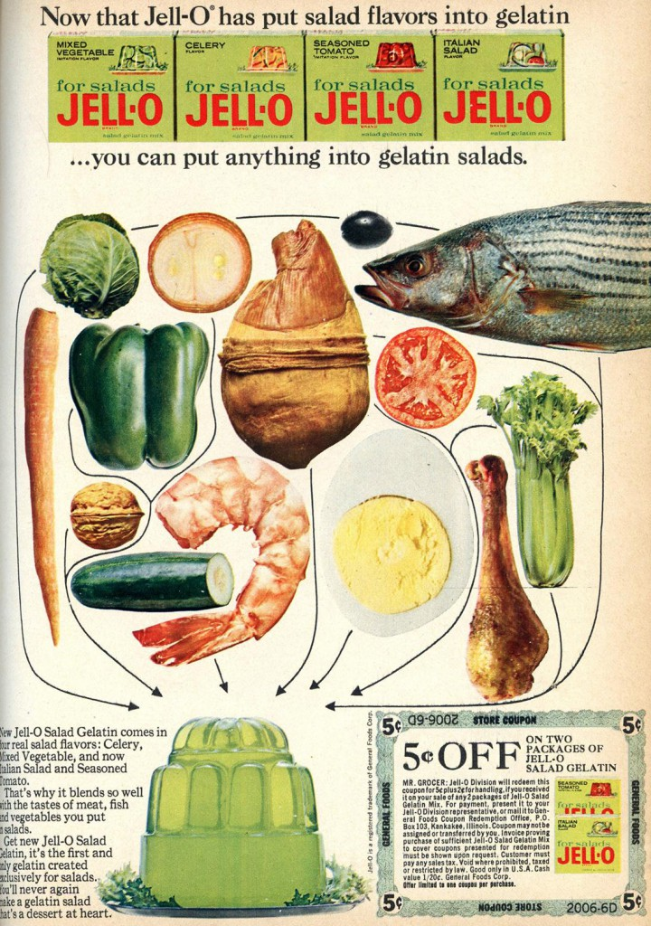 Vintage ad for vegetable flavoured Jell-O for salads.