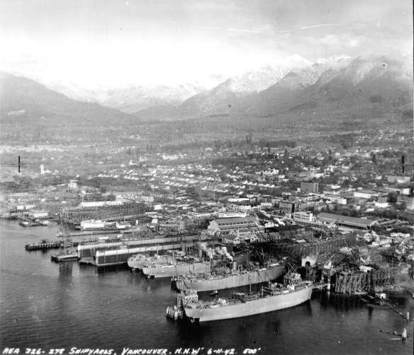 Burrard Dry Dock, November 6, 1942. Photo:  Air P21 , RCAF, CoV Archives.