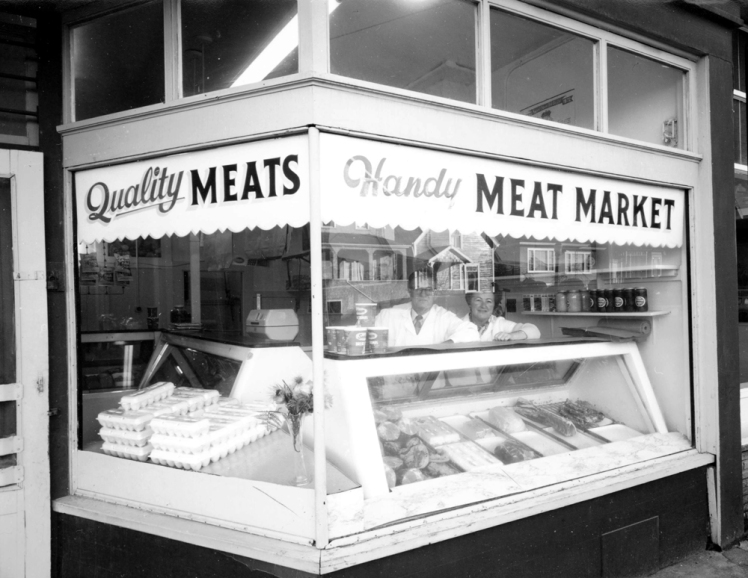 [Handy Meat Market, 894 East Georgia Street], Strathcona , ca. 1972. Photo: Art Grice , COV Archives - CVA 677-920.