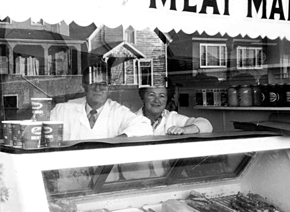 Detail of [Handy Meat Market, 894 East Georgia Street], Strathcona , ca. 1972. Photo: Art Grice , COV Archives - CVA 677-920.