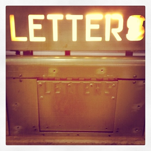 Illuminated letter drop at the main Vancouver Postal station. Photo: C. Hagemoen