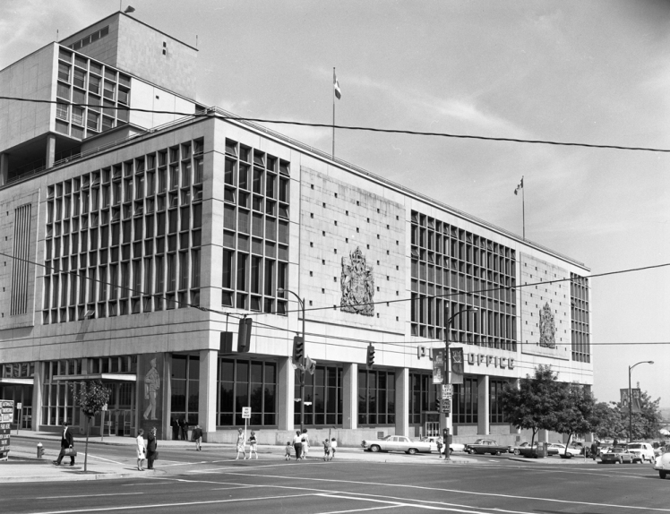Main Post Office Vancouver, 1965. Photo: Alvin Armstrong, CBC Vancouver Still Photo Collection.