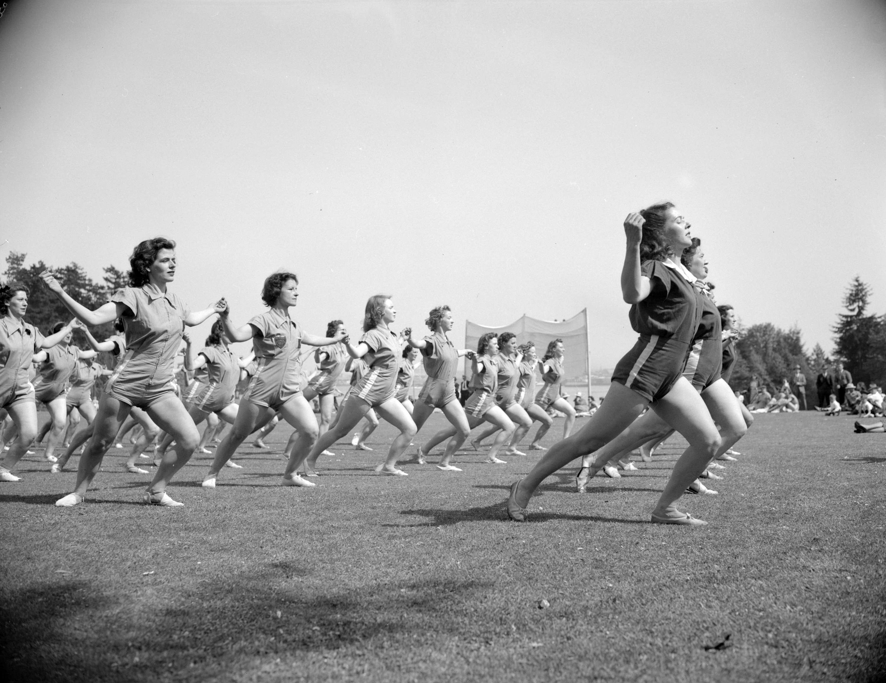 87fb4cc6bb5b Group of women doing a Pro-Rec fitness display in Stanley PArk