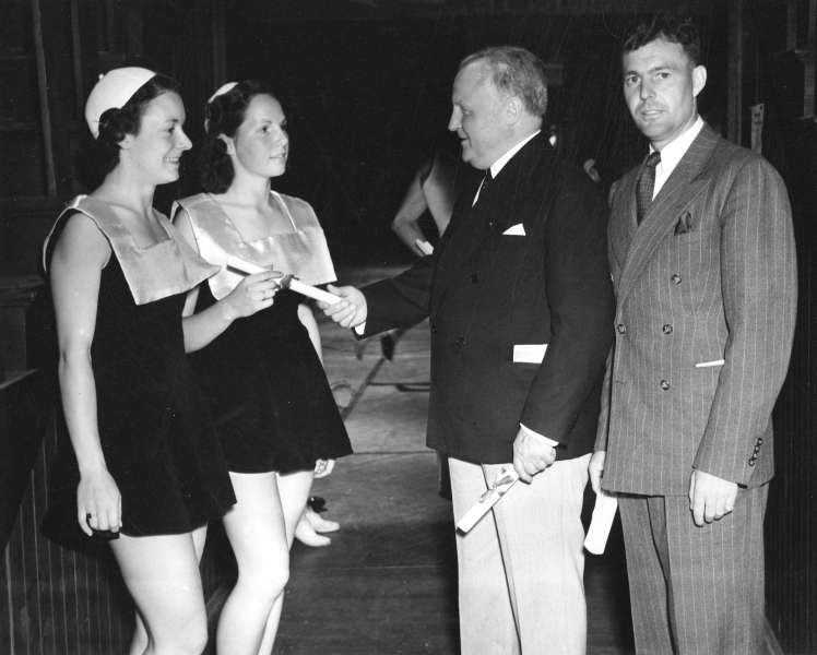 "Two ""Pro-Rec"" members receive scrolls [I believe Jan Eisenhardt is pictured on the right]. Photo: City of Vancouver Archives - Sp P46.1"