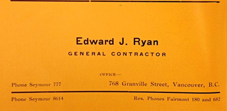Business advertisement in 1920 City Directory for Edward J. Ryan. Photo: C. Hagemoen