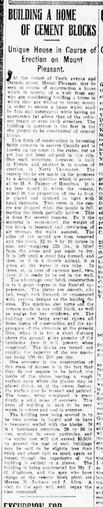 Vancouver Daily World article July 27, 1905.