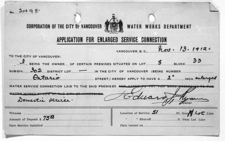 Water Service record dated Nov. 13 1912 for apartment building showing Edward J. Ryan as the owner.