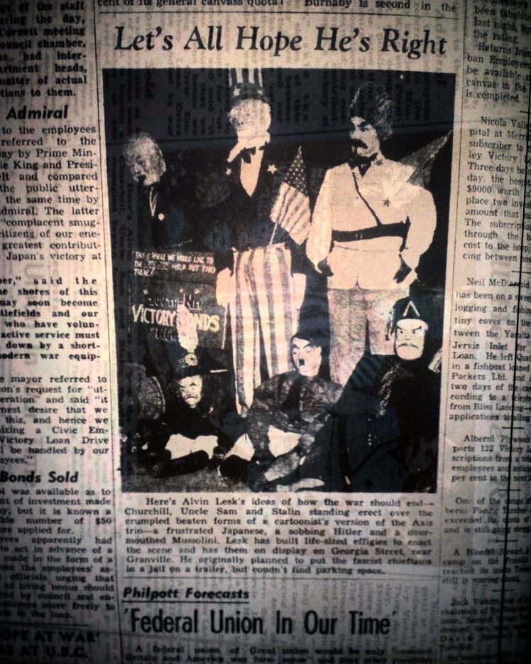 Photo in the Thursday, February 19th 1942 edition of the Vancouver News-Herald.