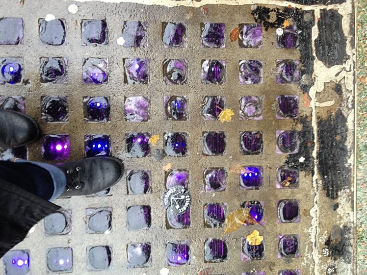 Original sidewalk prisms in front of 440 West Pender St. Photo: C. Hagemoen