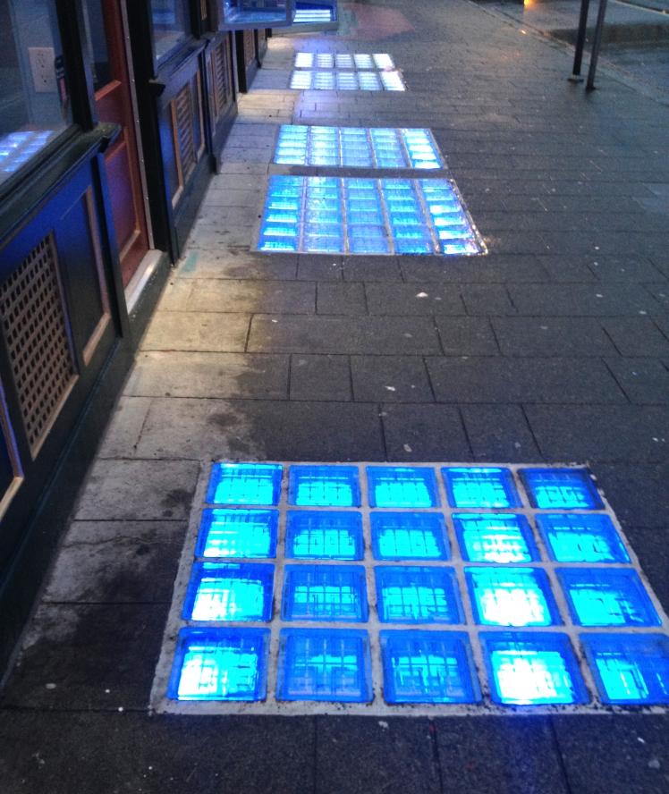 Sidewalk prism lights at 8 West Pender St. Photo: C. Hagemoen